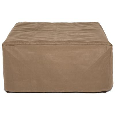Essential 26 in. Tan Square Patio Ottoman or Side Table Cover