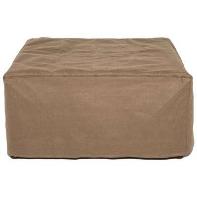 Essential 32 in. Tan Square Patio Ottoman or Side Table Cover