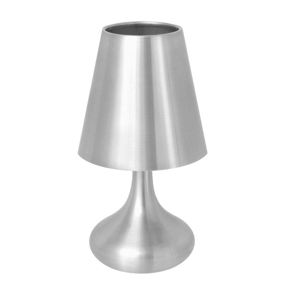 Lumisource 10 in. Silver Indoor Touch Table Lamp with Metal Shade