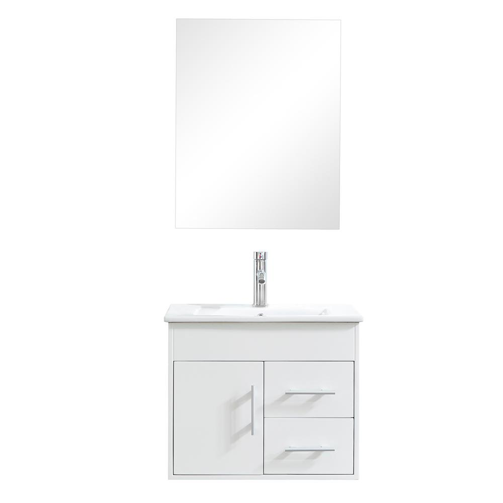 big sale e6e98 c4445 Mediterraneo Marsella 24 in. H x 18 in. D x 19-1/2 in. H Vanity in White  PVC with Vitreous China and Basin in White and Mirror