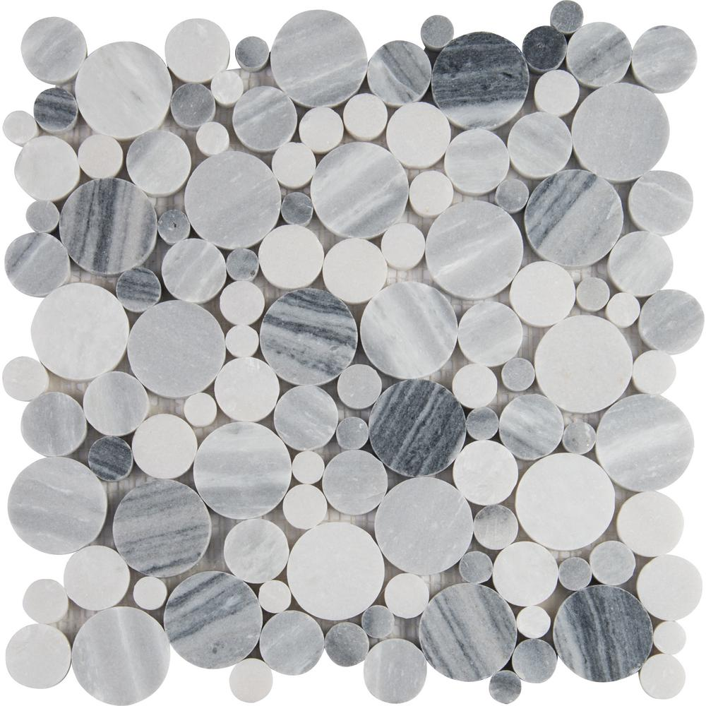 Alaska Gray River Stone 12 in. x 12 in. x 10 mm Polished ...