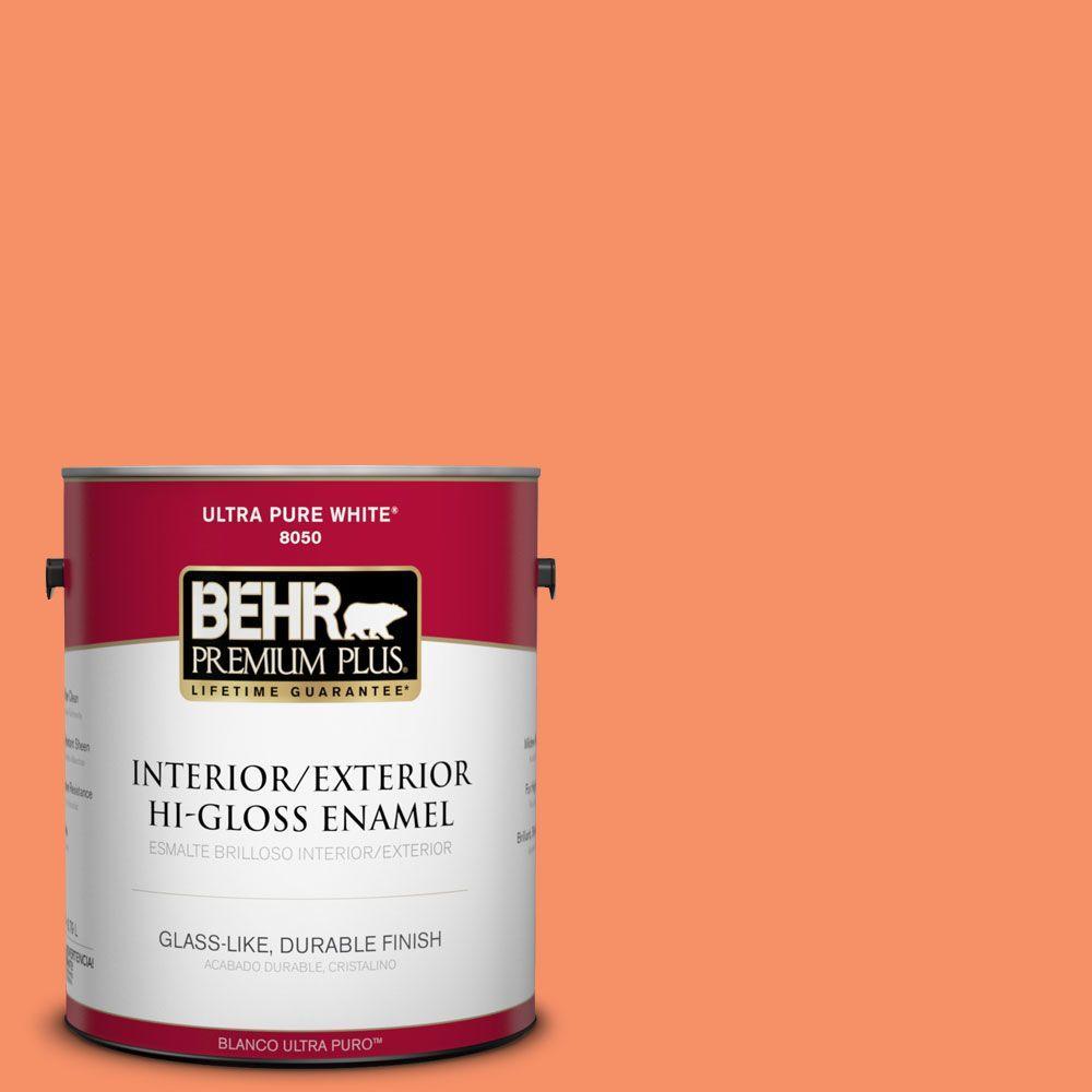 BEHR Premium Plus 1-gal. #210B-5 Tangerine Dream Hi-Gloss Enamel Interior/Exterior Paint