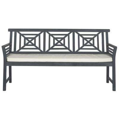 Del Mar Outdoor 3 Seat Acacia Patio Bench with Beige Cushions