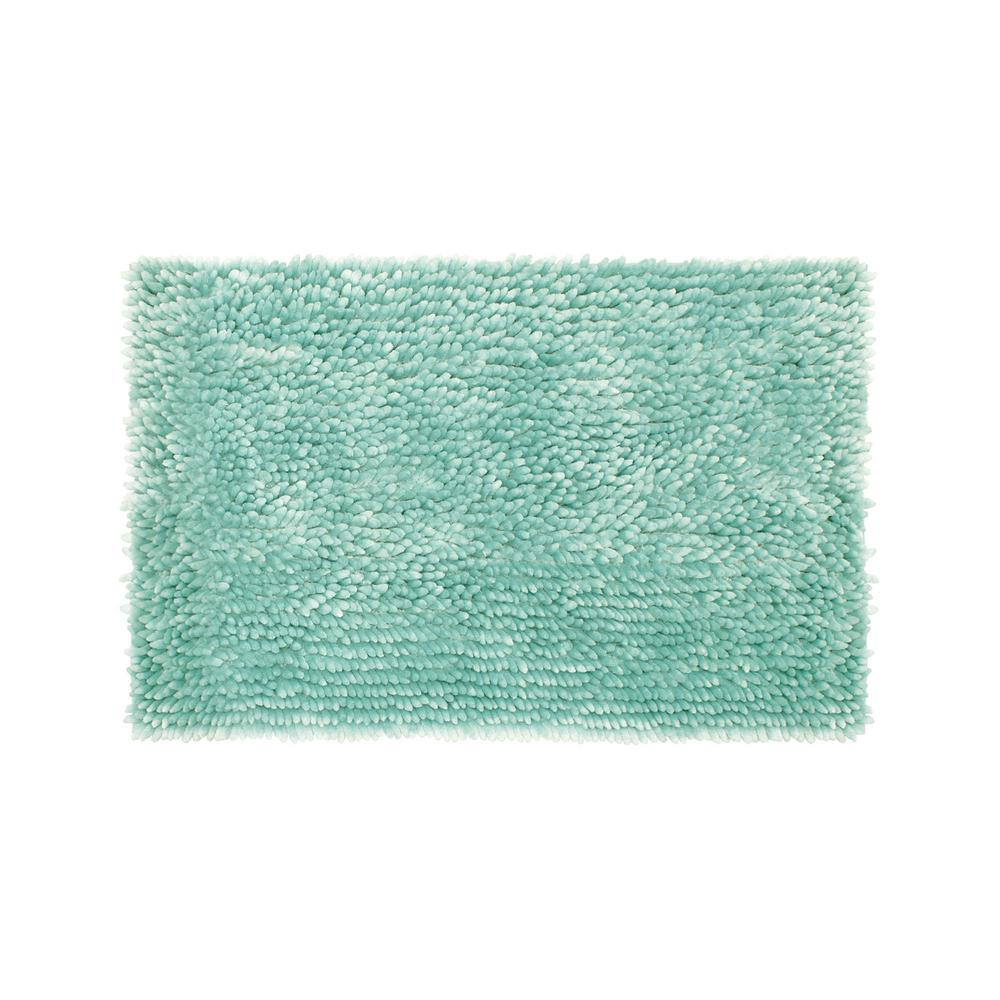 Jean Pierre Mega Butter Chenille 17 in. x 24 in. Bath Mat in Aqua