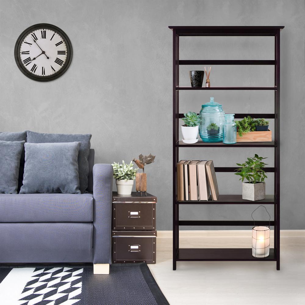 Mission Style Espresso Solid Wood 5-Shelf Bookcase