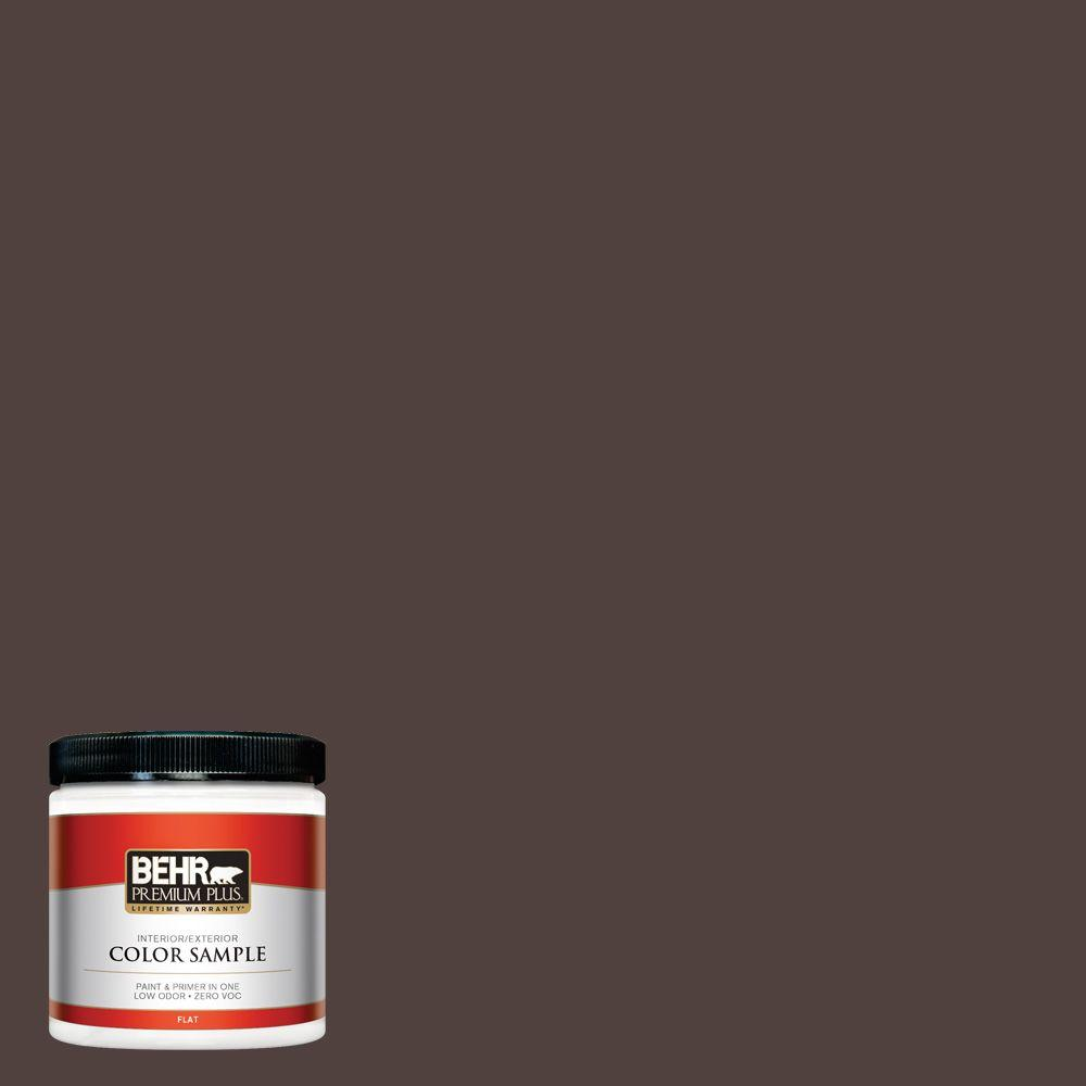 BEHR Premium Plus 8 oz. #ECC-28-3 Charred Hickory Interior/Exterior Paint Sample