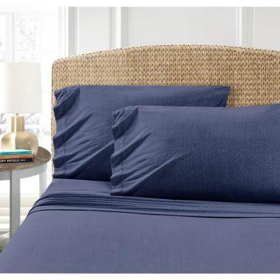 MHF Home Cotton Blend Indigo Jersey Extra-Long Twin Sheet Set