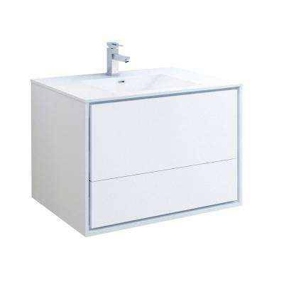 Catania 36 in. Modern Wall Hung Bath Vanity in Glossy White with Vanity Top in White with White Basin