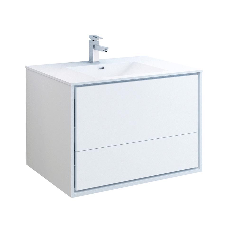 Catania 36 in. Modern Wall Hung Bath Vanity in Glossy White with Vanity Top in White with White Basin