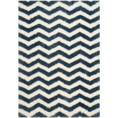 Montreal Shag Ivory/Blue 4 ft. x 6 ft. Area Rug