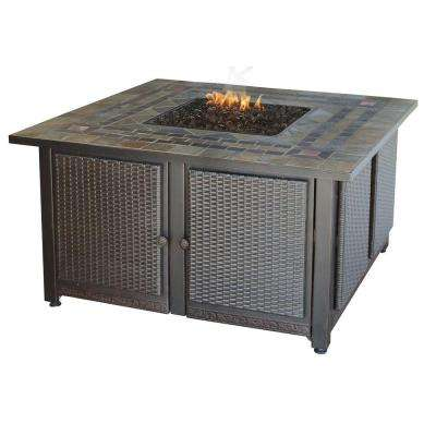41 in. Gas Outdoor Fire Bowl in Black/Slate