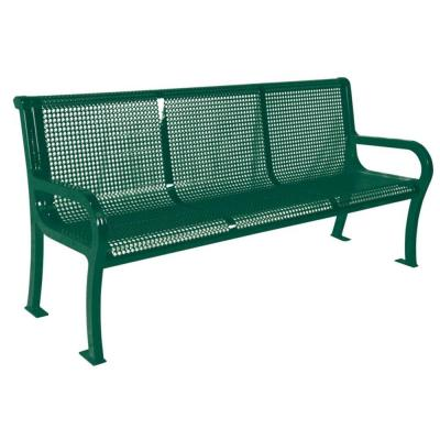 6 ft. Perforated Green Commercial Park Lexington Portable Bench with Back Surface Mount