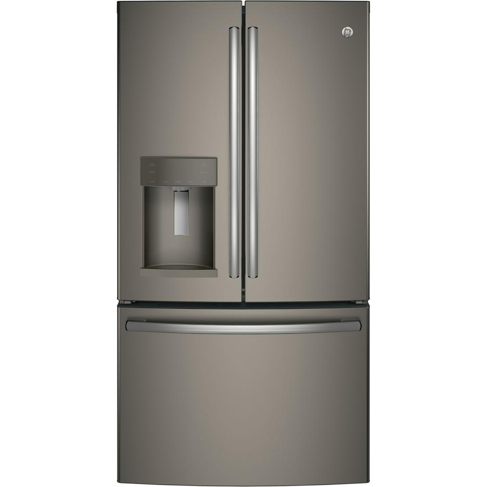 Ge 25 8 Cu Ft French Door Refrigerator In Slate Fingerprint Resistant Gfs26gmnes The Home Depot
