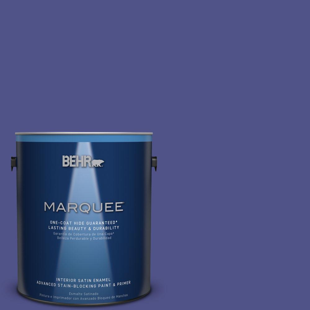 1 gal. #P550-7 Purple Prince One-Coat Hide Satin Enamel Interior Paint