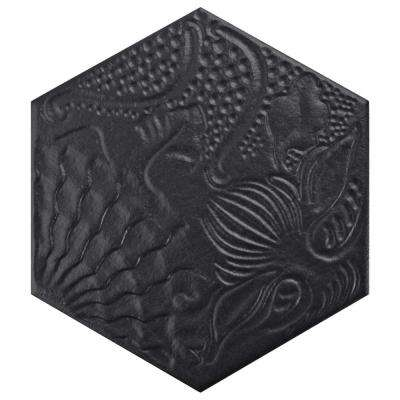 Gaudi Hex Black 8-5/8 in. x 9-7/8 in. Porcelain Floor and Wall Tile (11.19 sq. ft. / case)