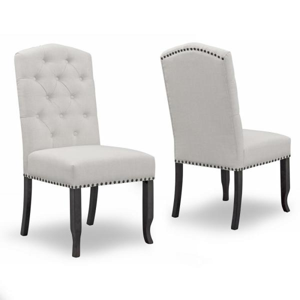 Aleeya Beige Fabric Dining Chair with Tufted Buttons and Nail Head Accent (Set of 2)