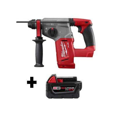 M18 FUEL 18-Volt Lithium-Ion Brushless Cordless 1 in. SDS-Plus Rotary Hammer with Free M18 5.0Ah Battery