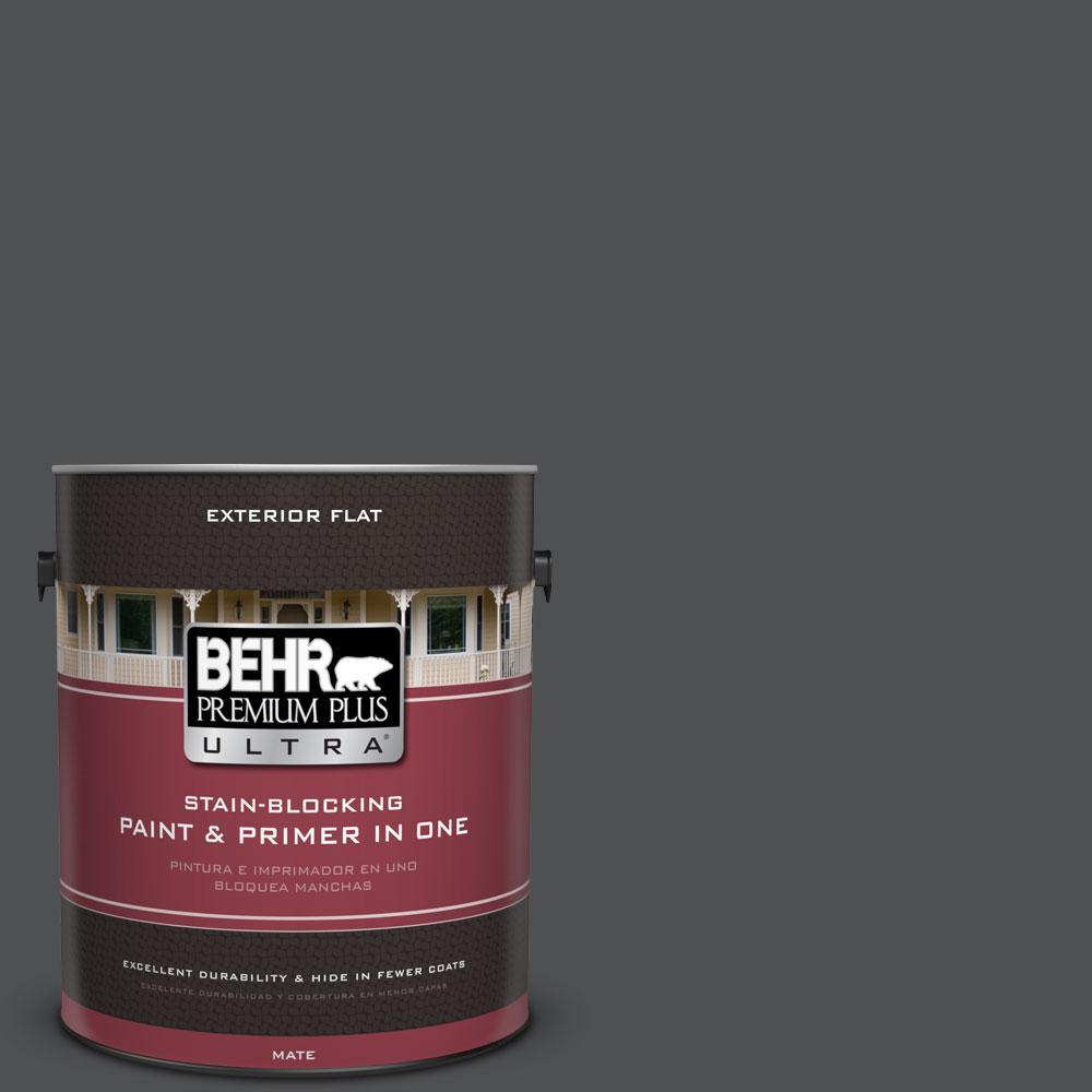 BEHR Premium Plus Ultra 1-gal. #PPU18-1 Cracked Pepper Flat Exterior Paint