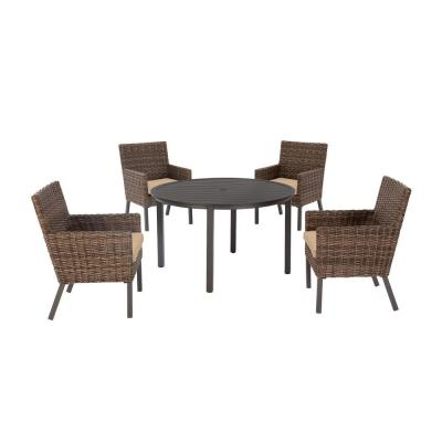 Fernlake 5-Piece Taupe Wicker Outdoor Patio Dining Set with Sunbrella Beige Tan Cushions