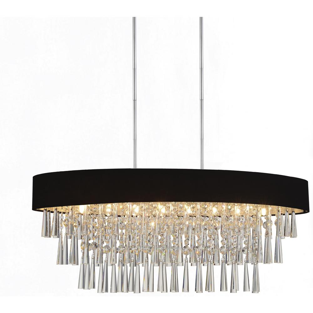 Cwi Lighting Franca 8 Light Chrome Chandelier With Black Shade