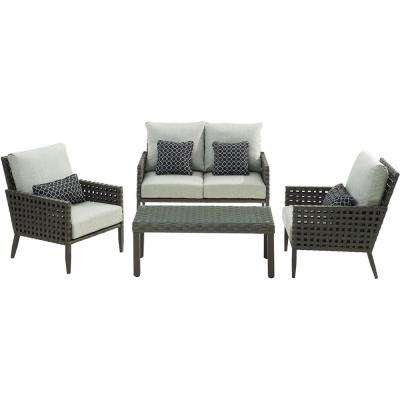 Archer 4-Piece Metal Patio Conversation Set with Silver Lining Cushions
