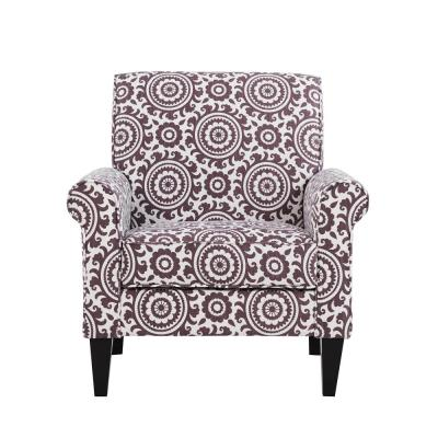 Jean Amethyst Purple and Cream Medallion Arm Chair