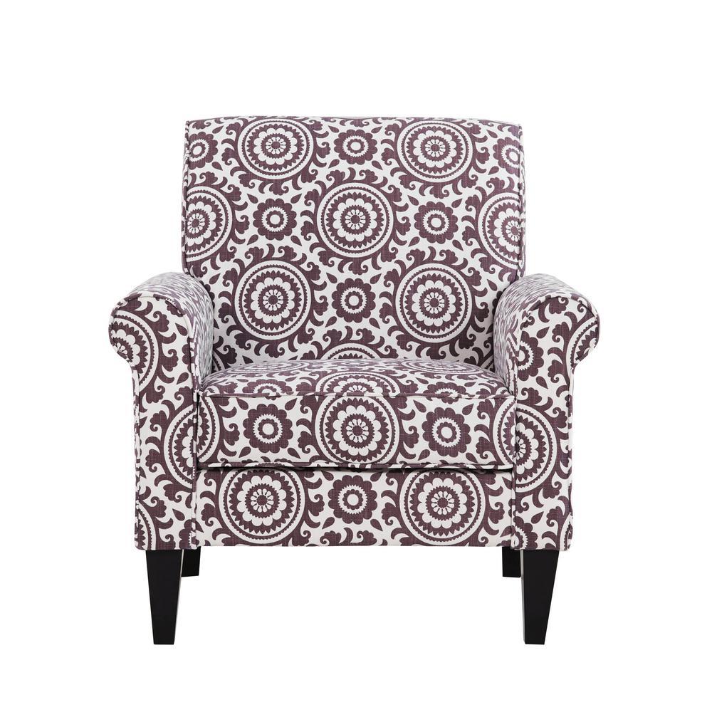 Handy Living Jean Amethyst Purple and Cream Medallion Arm Chair B340C-PSU77-100