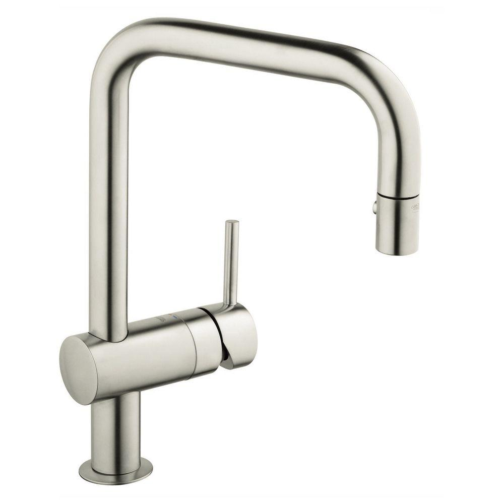 GROHE Minta Single Handle Pull Out Sprayer Kitchen Faucet In Super Steel