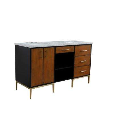 61 in. W x 22 in. D Double Bath Vanity in Walnut and Black with Marble Vanity Top in White with White Rectangle Basins