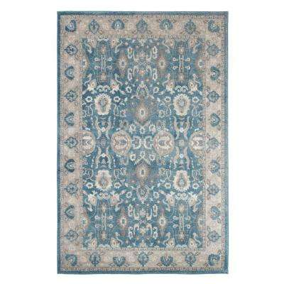 Vintage Floral Blue 8 ft. x 10 ft. Area Rug