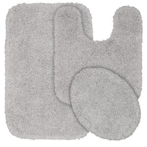 Serendipity Platinum Gray 3-Piece Washable Bathroom Rug Set