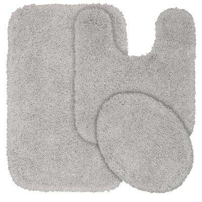 Serendipity 3 Piece Washable Bathroom Rug Set in Platinum Gray