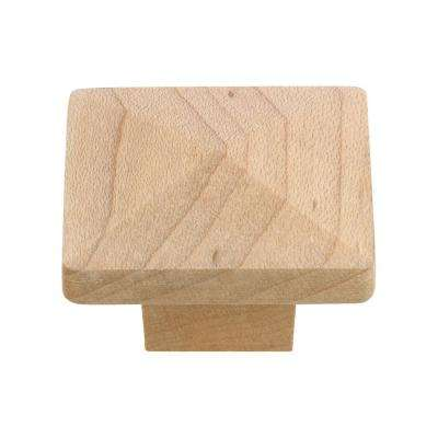 Eclectic 1-1/4 in. (32 mm) Unfinished Maple Square Cabinet Knob