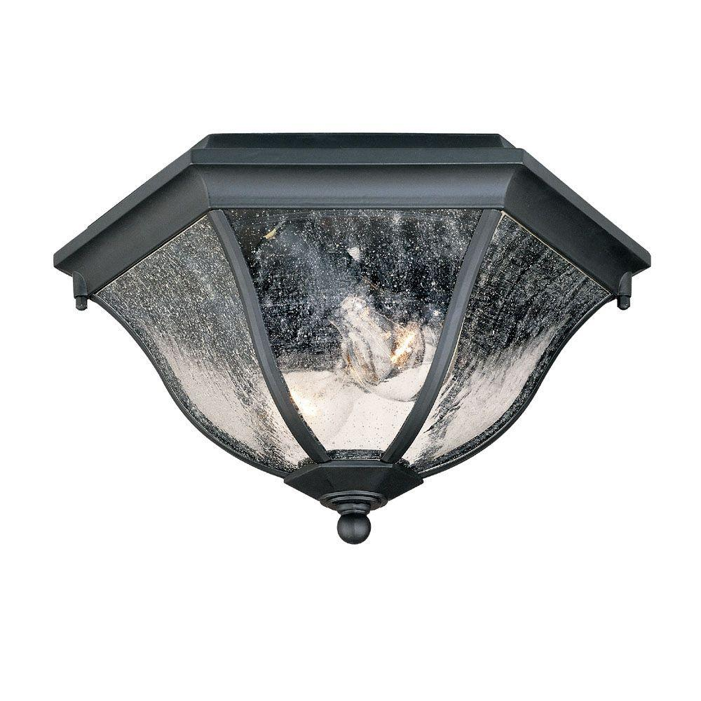 Acclaim Lighting Flushmount Collection Ceiling Mount 2 Light Matte Black Outdoor Fixture