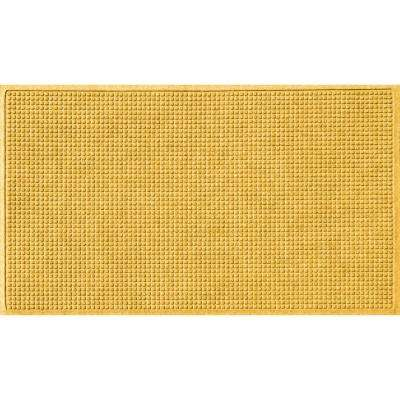 Yellow 36 in. x 84 in. Squares Polypropylene Door Mat