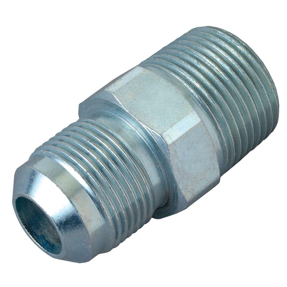 BrassCraft 1/2 in. O.D. Flare x 1/2 in. MIP Steel Gas Fitting BrassCraft's Steel Male Gas Fitting adapts gas connector nut to appliance inlet or gas supply. These fittings are manufactured from solid bar stock for a seamless, durable design. The flared end of the fitting connects to the gas connector nut. The male end connects to the gas appliance inlet, gas ball valve or gas supply stub out. Fitting is used with 1/2 in. O.D. gas connectors for appliances with moderate BTU demands such as a four-burner stove, water heater or dryer.