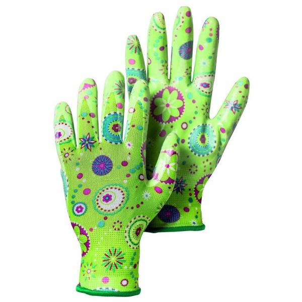 Garden Dip Size 7 Small Form-Fitting Nitrile Dipped Gloves in Green