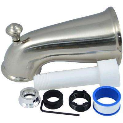 6 in. Elegant Tub Spout with Front Diverter in Brushed Nickel