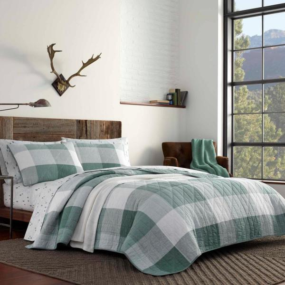 Boulder 3-Piece Green Plaid Cotton Full/Queen Quilt Set