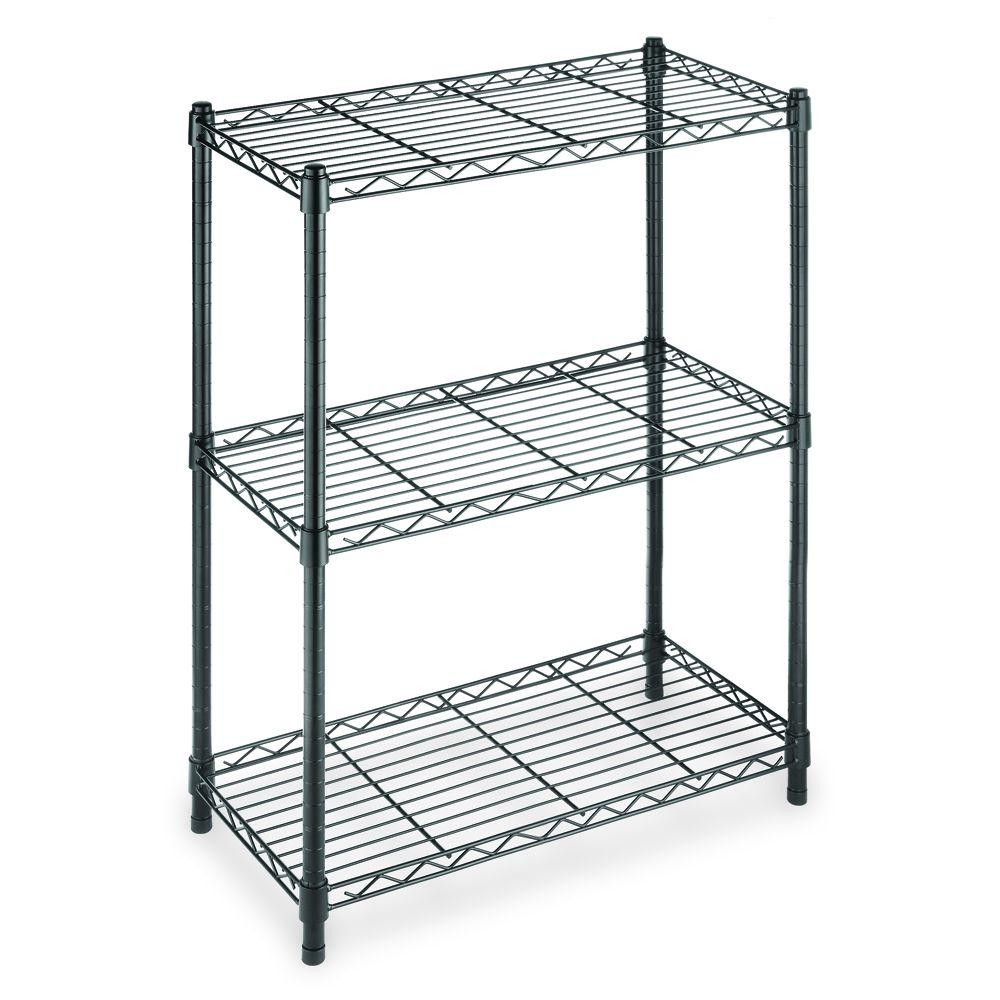Hdx Black 3 Tier Metal Wire Shelving Unit 24 In W X 30 In H X 14 In D Eh Wsthdus 006b The Home Depot
