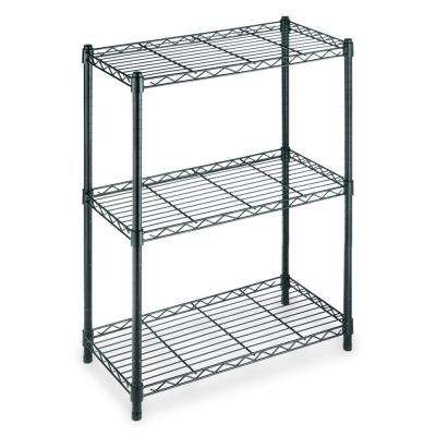 30 in. H x 24 in. W x 14 in. D 3 Shelf Steel Shelving Unit in Black
