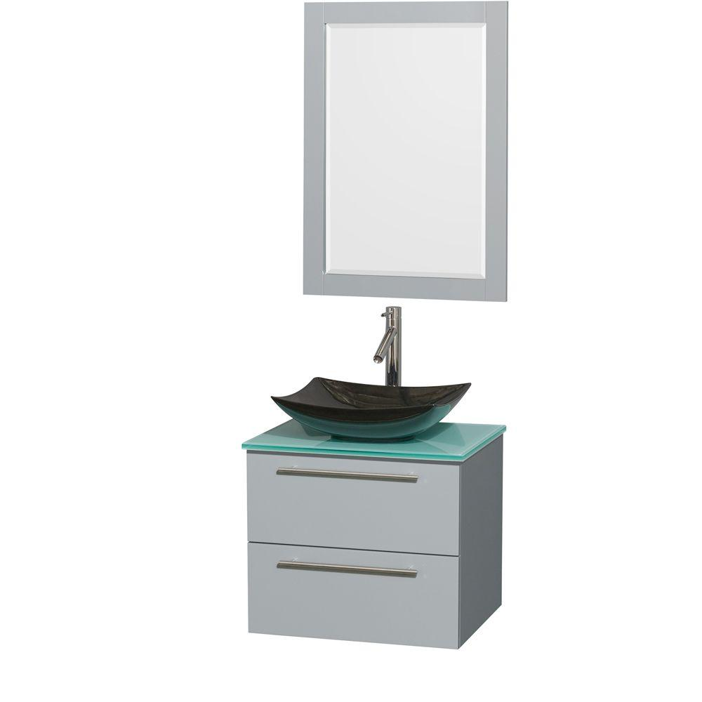 Wyndham Collection Amare 24 in. W x 19.5 in. D Vanity in Dove Gray with Glass Vanity Top in Green with Black Basin and 24 in. Mirror