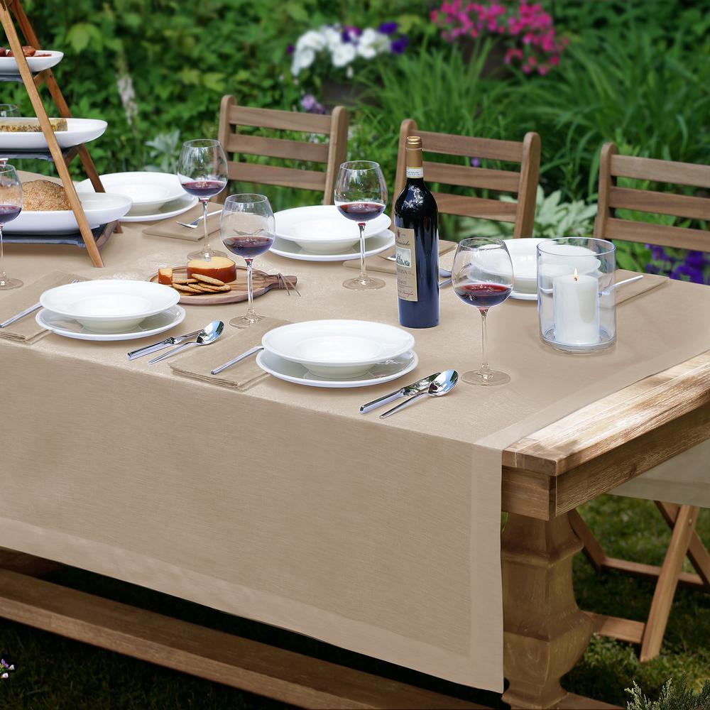 La Classica 70 in. W x 96 in. L Fabric Tablecloth in Natural