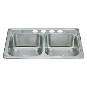 Sterling Middleton Drop-In Stainless Steel 33 inch 4-Hole Double Bowl Kitchen Sink by STERLING