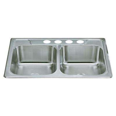 Middleton Drop-In Stainless Steel 33 in. 4-Hole Double Bowl Kitchen Sink