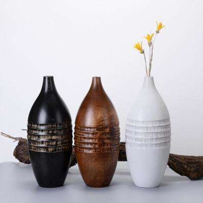 14 in. White Decorative Handmade Mango Wood Round Barrel Vase