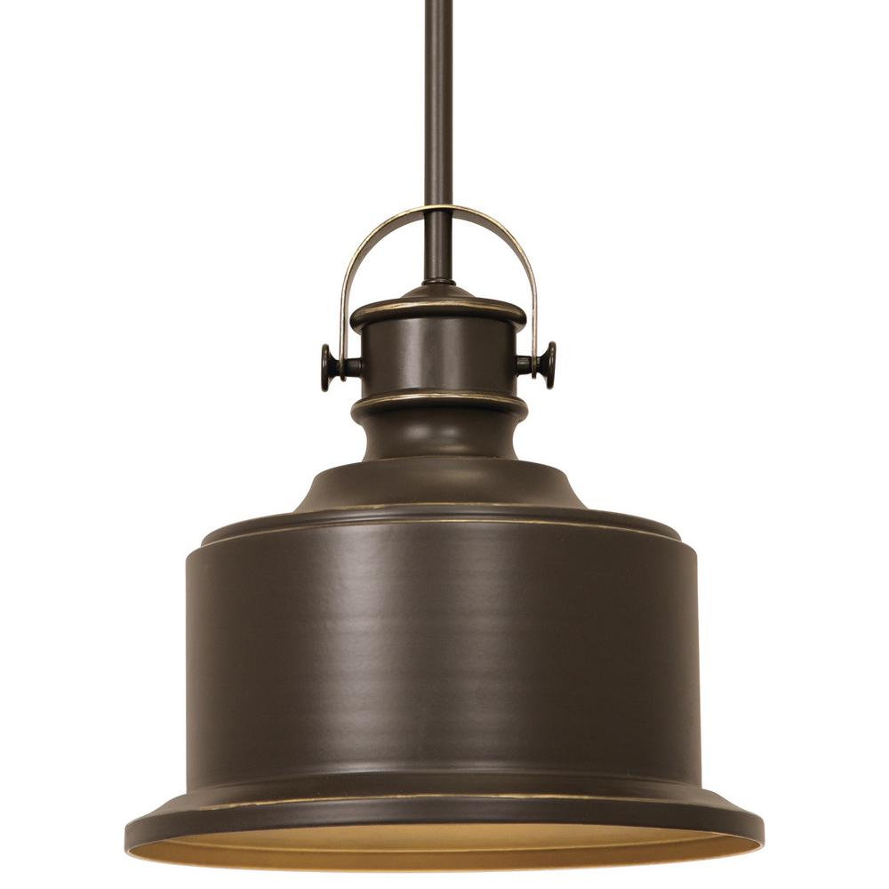 Callahan Collection 1-Light Antique Bronze Kitchen Island Pendant with Metal Shade