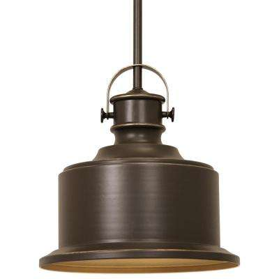 Callahan Collection 1-Light Antique Bronze Pendant with Metal Shade