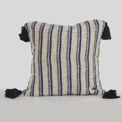 Contemporary Blue and Gray Striped Hypoallergenic Polyester 18 in. x 18 in. Throw Pillow