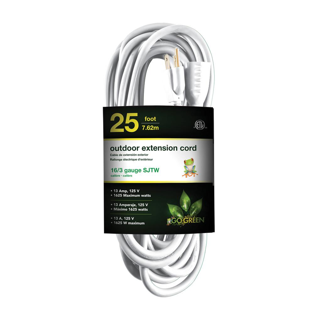 25 ft. 16/3 Heavy Duty Extension Cord, White